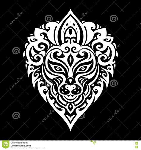 tribal pattern header lions head tribal pattern vector illustration
