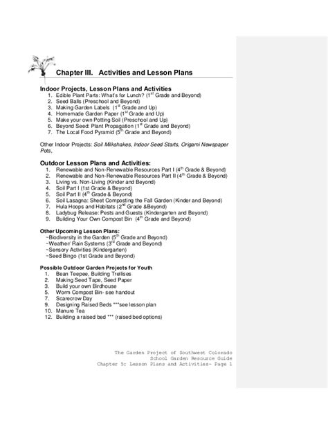 Garden Lesson Plans Colorado School Gardening Guide Chapter 3 Activities And