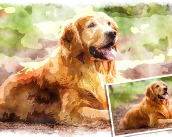 golden retriever painting golden retriever etsy