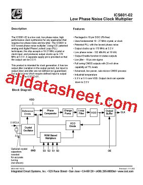 integrated circuit systems ics ics601m 02i datasheet pdf integrated circuit systems