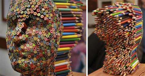 color blind colorful pencil sculpture  molly