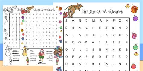 christmas words that start with n australian wordsearch australia words