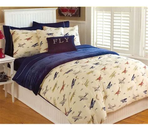 thro vintage airplanes microplush twin comforter set