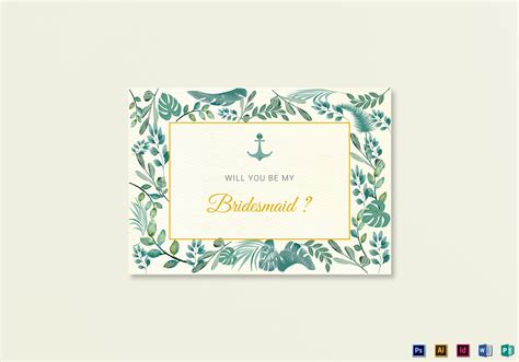 will you be my bridesmaid card word template nautical will you be my bridesmaid card template in psd