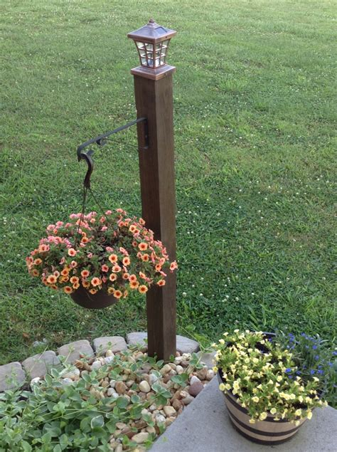 diy outdoor light post do it yourself l post with hanging basket one 4x4