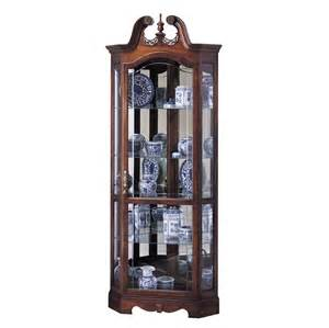 Curio Cabinets Howard Miller Cherry Corner Collectible Curio Cabinet