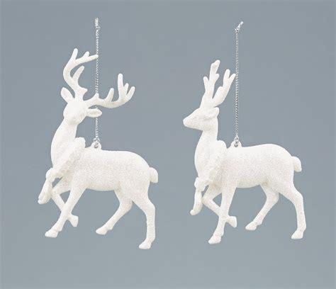 hanging deer christmas lights 4 x white glitter deer reindeer hanging decorations