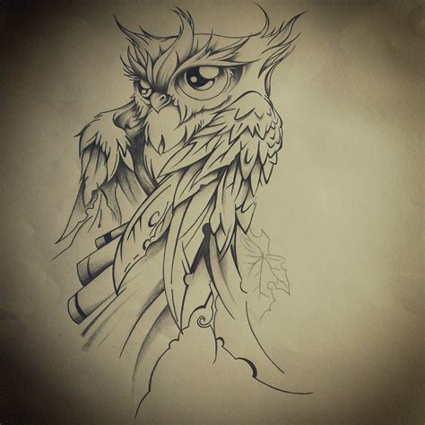 tattoo owl sketch final drawing by dirtfinger on de women body art