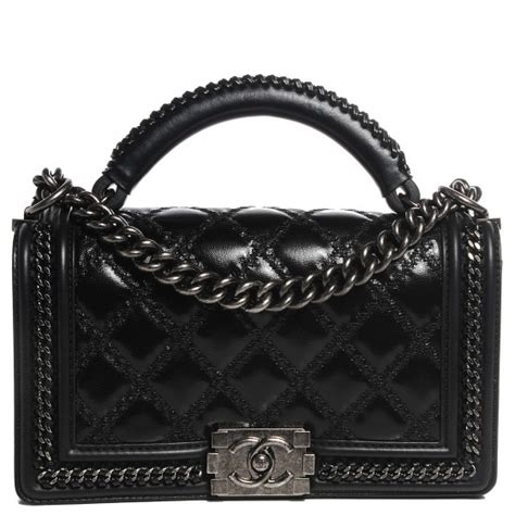 Chanel Boy Top Handle Fr1503 chanel calfskin quilted medium top handle boy flap black 98926