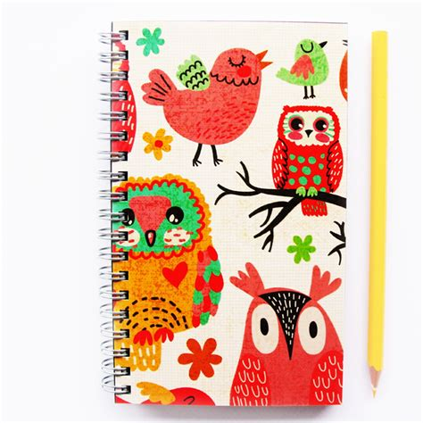 notebook blank wire bound owls print cover journal sketch