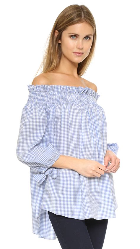 Baby Blue Blouse Girly caroline constas lou the shoulder blouse in blue lyst