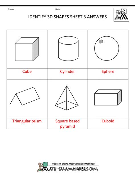3d Shapes Worksheets by 3d Shapes Worksheets 1st Grade
