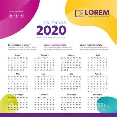wall calendar  colorful template vector premium