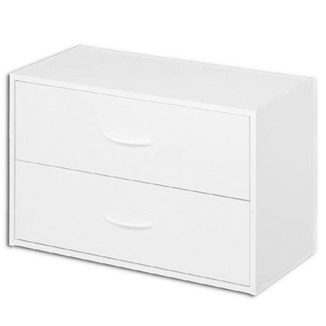 stacking two drawer storage chest white in storage drawers
