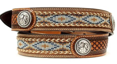 beaded cowboy belts ariat western mens belt leather beaded basketweave floral