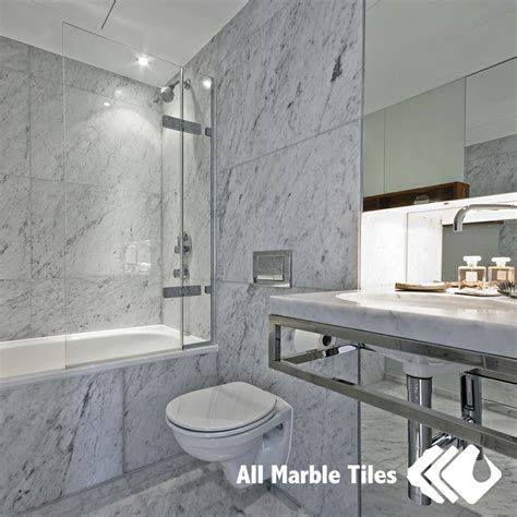 bathroom design with bianco carrara marble tile from www