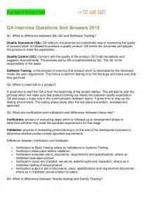 questions and answers for quality assurance