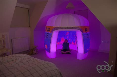 2 Bedroom Pop Up Tent by Pods Products Sub Aqua Play Tent Pink Lights