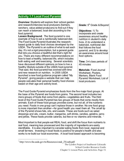Garden Lesson Plans Colorado School Garden Lesson Plan A7 The Local Food Pyramid