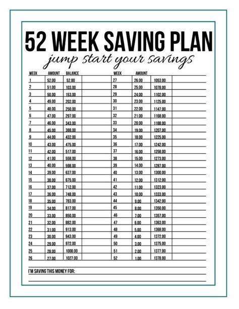 52 week savings plan printable for 2016 calendar