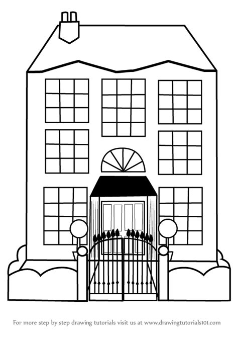draw a house step by step how to draw a mansion drawingtutorials101 com