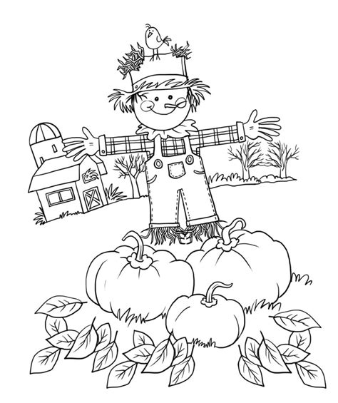 Coloring Pages Fall Coloring Page Print Fall Pictures To Scarecrow Color Page