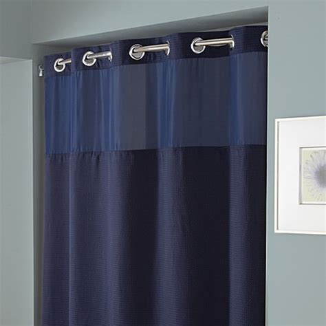 navy fabric shower curtain buy hookless 174 waffle 71 inch x 74 inch fabric shower