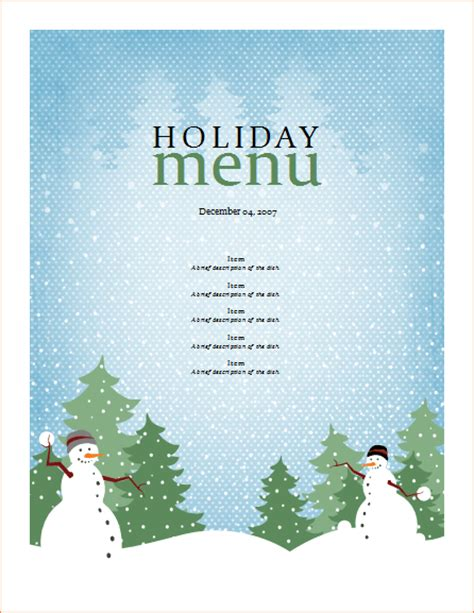 7 christmas menu templates procedure template sle