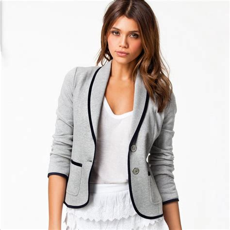 2015 new style autumn blazer slim fit cotton casual suit gray black blazer fashion