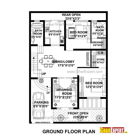 50 sq yard home design house plan for 35 by 50 plot plot size 194 square yards gharexpert
