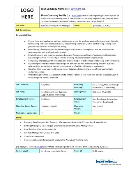 business development templates business development manager description template by