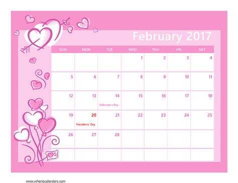 Febuary Calendar Free February 2017 Calendars When Is Calendar