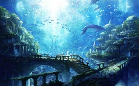 wallpaper underwater city ruins fishes wallpapermaiden