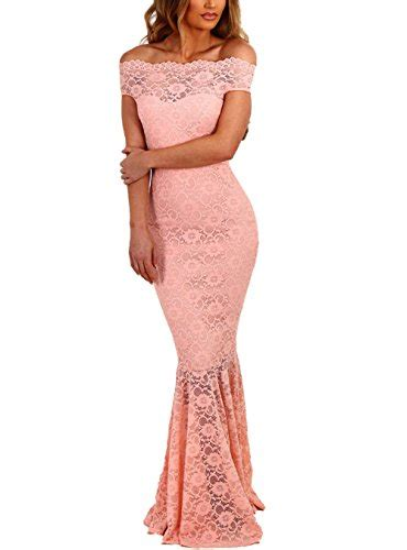 Elapsy Womens Shoulder Bardot Lace Evening by Elapsy Womens Shoulder Bardot Lace Evening Gown