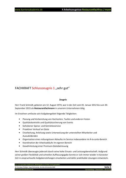 4 x Arbeitszeugnis Restaurantfachmann Restaurantfachfrau