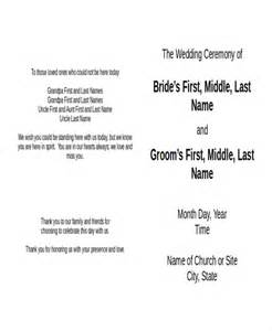 wedding program free template 10 wedding program templates free sle exle