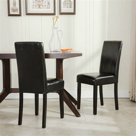 Set Of Two Living Room Chairs Modern Parsons Chair Leather Dining Living Room Chairs Seat Set Of 2