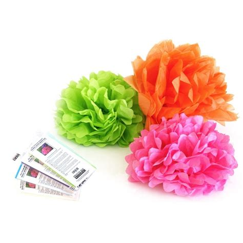 Paper Flower Kit - tissue paper flower pom pom kit creative bag