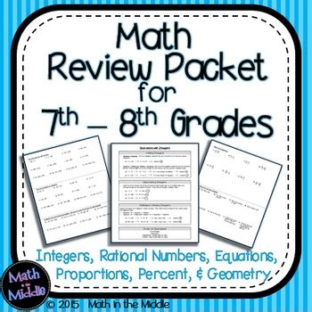 resources for summer packets middle school 7th grade 7th grade math review packet resources math in the middle