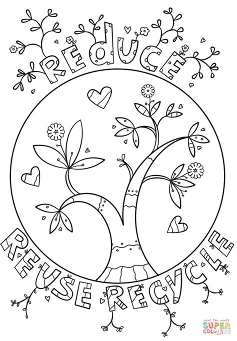 reduce reuse recycle doodle coloring page free printable