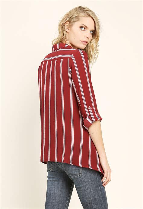 Sale Tjoy304 Zalora Stripe Blouse vertical striped shirt shop sale at papaya clothing