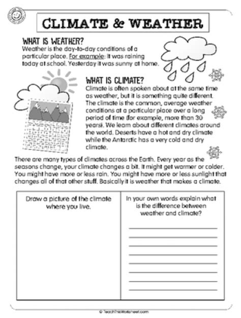 Weather Vs Climate Worksheet by Weather And Climate Worksheets