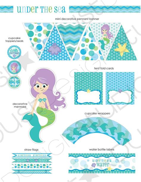 free printable party kits decorations under the sea mermaid printable party kit