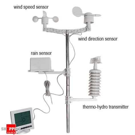 solar powered wireless 5 lcd screen weather station with