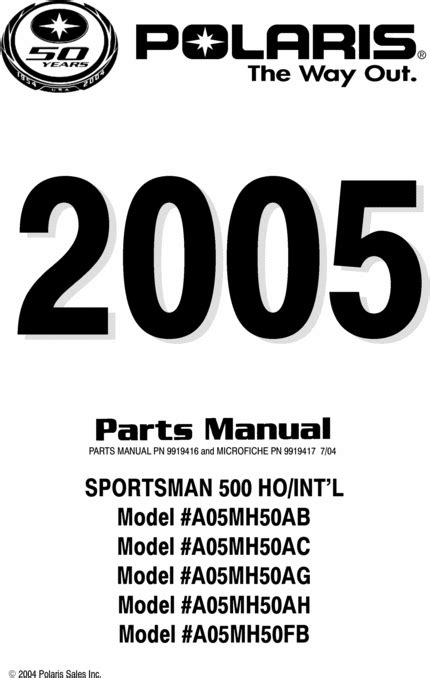 Polaris SPORTSMAN 500 Part List, Parts Manual, PARTS