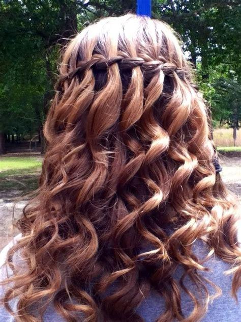 braid hairstyles long curly hair waterfall braid for curly