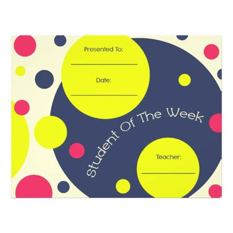 student of the week certificate template free student of the week award certificate letterhead zazzle