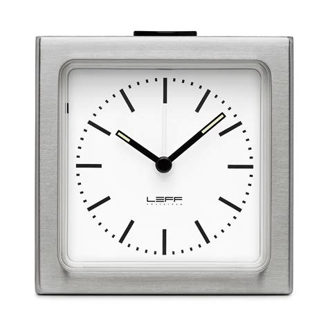 leff amsterdam alarm clock stainless steel white gump s
