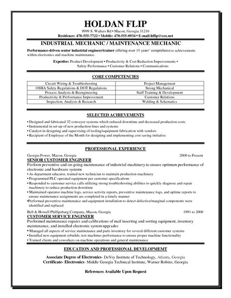 Auto Mechanic Resume Sle by Helicopter Mechanic Resume Sales Mechanic Lewesmr