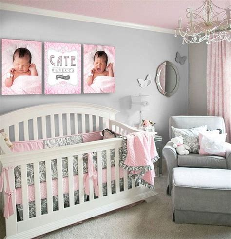 pink and grey baby room baby s name and birthday damask nursery by designercanvases 285 00 pink and grey nursery